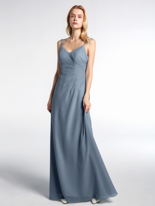 Babaroni Phyllis Double Straps Cross Back Chiffon Maxi Dress