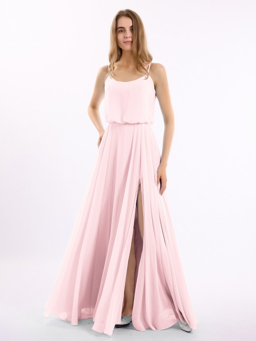 Babaroni Polly Spaghetti Strap Scoop Chiffon Dresses with Slit