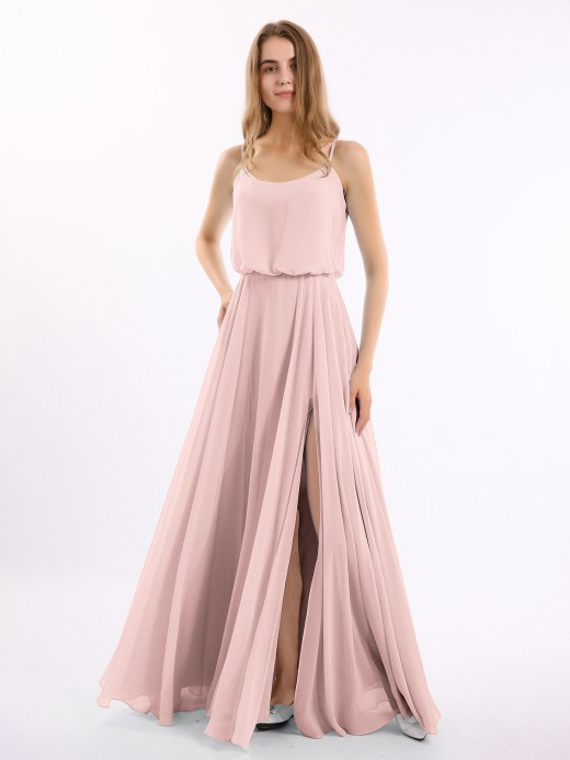 Polly Spaghetti Strap Scoop Chiffon Dresses with Slit US12