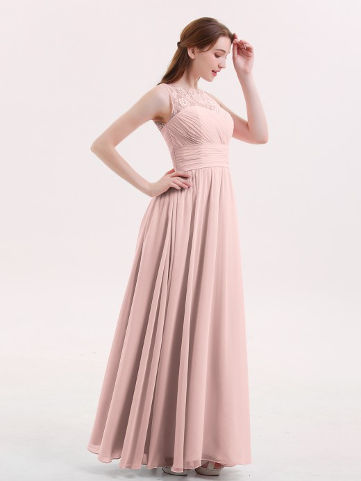 Babaroni Poppy Illusion Neck Chiffon and Lace Long Dresses