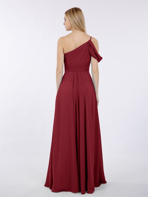 Prudence One Shoulder Chiffon Long Bridesmaid Gowns US8