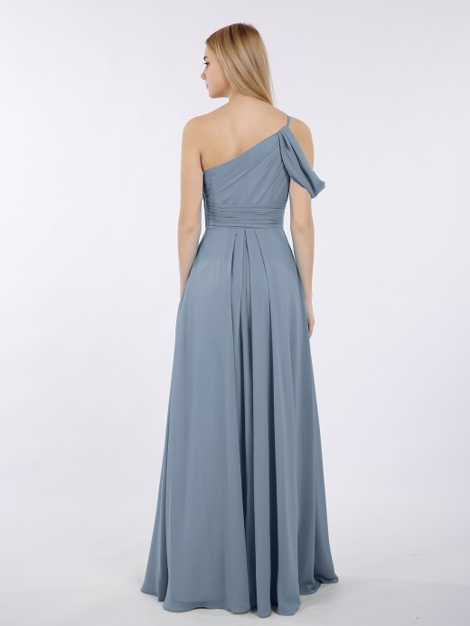 Prudence One Shoulder Chiffon Long Bridesmaid Gowns US6