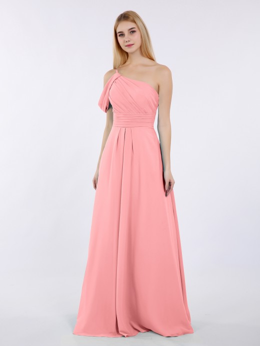 Babaroni Prudence One Shoulder Chiffon Long Bridesmaid Gowns