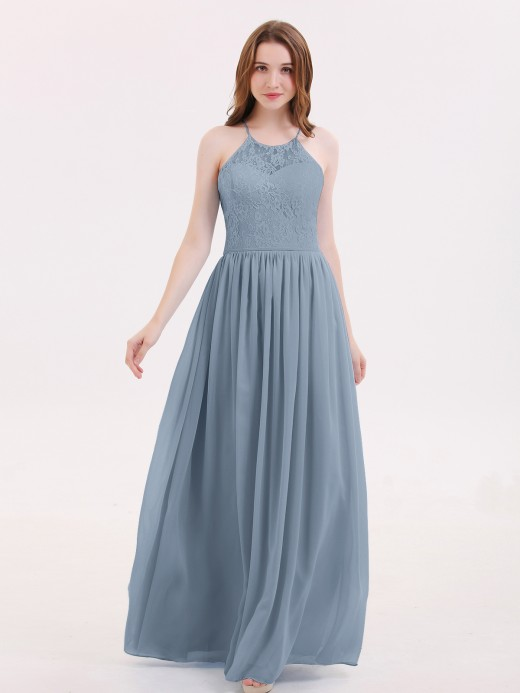 Babaroni Renata Illusion Neck Lace and Chiffon Maxi Gowns