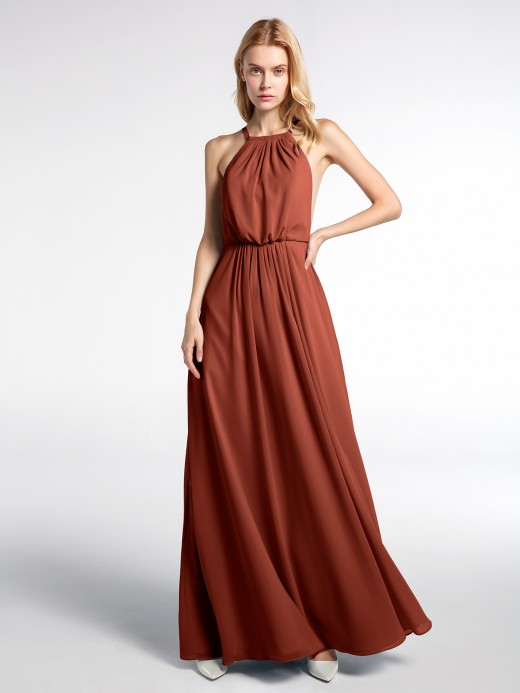 Babaroni Renee Halter Neck Low Back Chiffon Maxi Sexy Dress