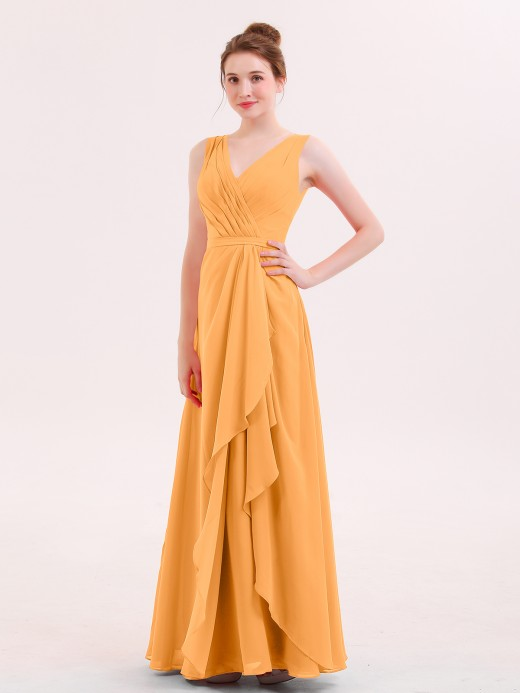 64 Colors Babaroni Rita V Neck Chiffon Bridesmaid Gown