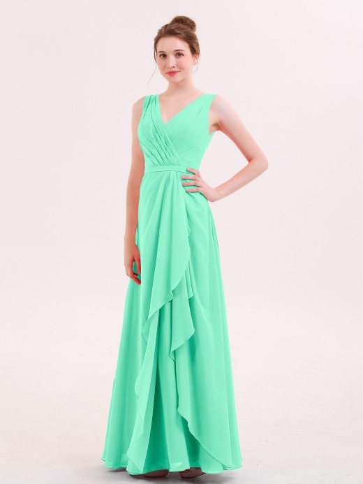 Babaroni Rita V-neck Chiffon Bridesmaid Gown with Cascade Skirt
