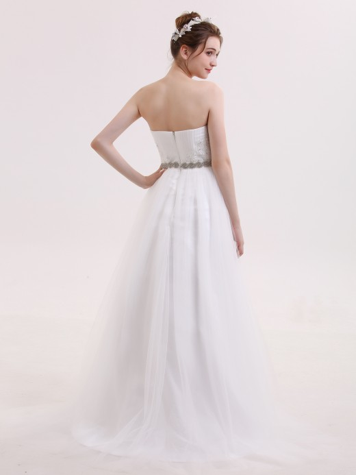 Babaroni Roberta Sweetheart Neck Bride Dress with Beaded Sash