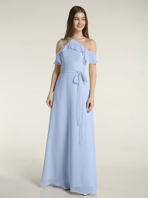 Babaroni Rosa Y-neck Flutter Sleeves Long Bridesmaid Dresses
