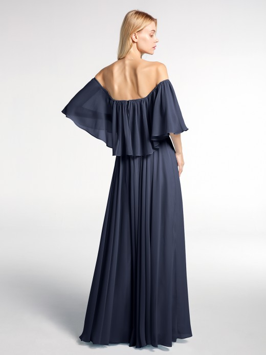 Babaroni Rose Off the Shoulder Ruffles Chiffon Maxi Dress