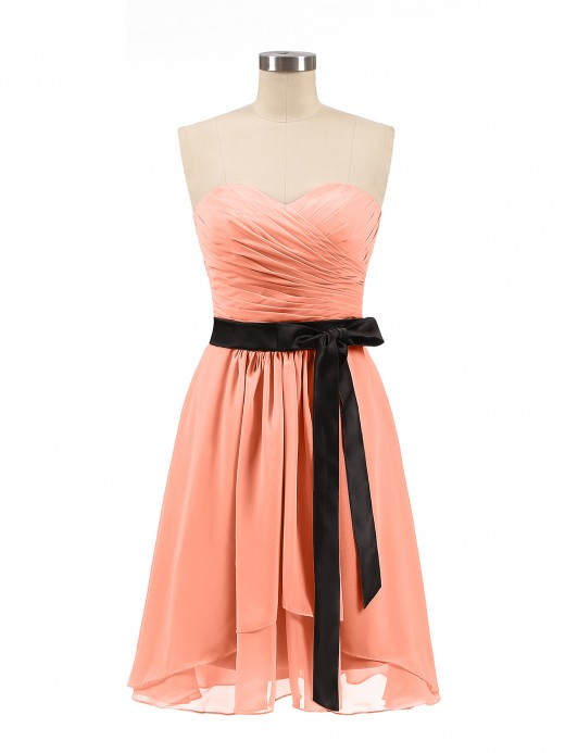 Babaroni Rosemary Sweetheart Neck Short Dress with Black Sash