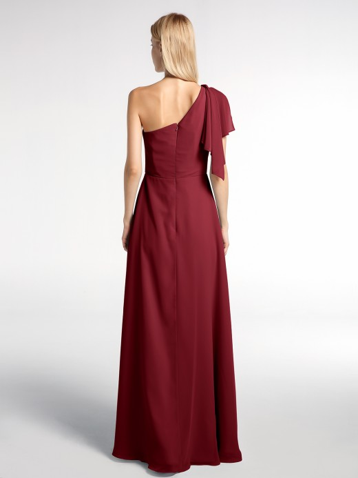 Babaroni Salome One Shoulder Chiffon Maxi Dress with Cascade