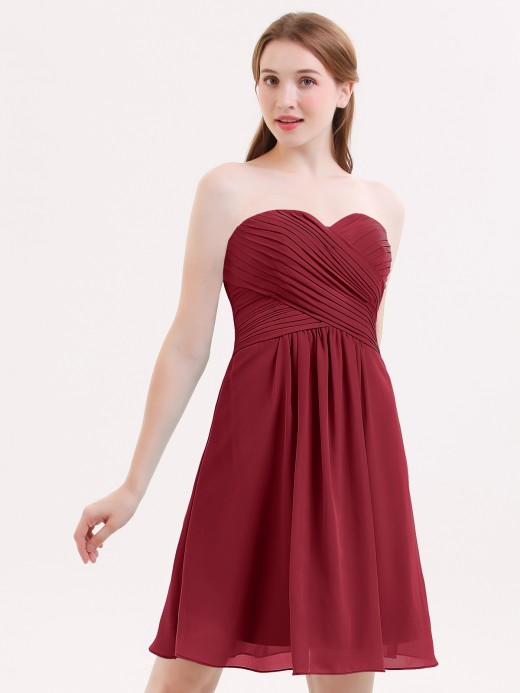 Babaroni Samantha Short Strapless Bridesmaid Dress with Sweetheart