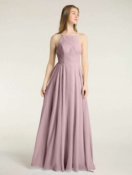 Babaroni Sandra Low Back Simple Chiffon Birdesmaid Dresses