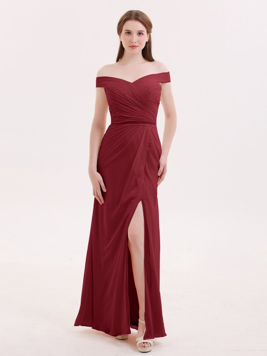 Sebastiane Chiffon Off Shoulder Dresses with Slit US4 US6 US8
