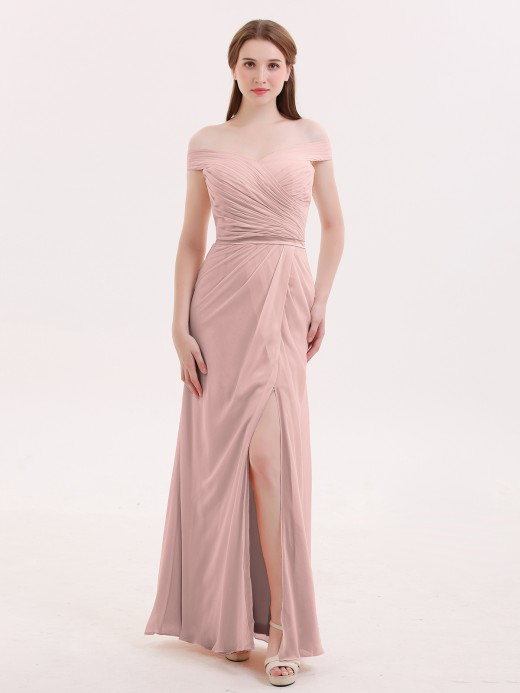 Sebastiane Chiffon Off Shoulder Dresses with Slit US8