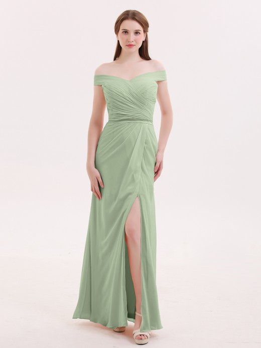 a7969401dfd2 Dusty Sage Off-the-shoulder Bridesmaid Dresses & Bridesmaid Gowns ...