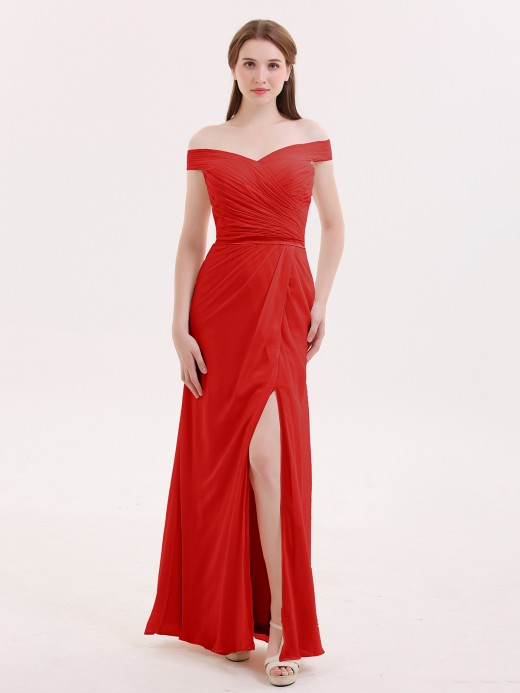 Babaroni Sebastiane Chiffon Off Shoulder Dresses with Slit