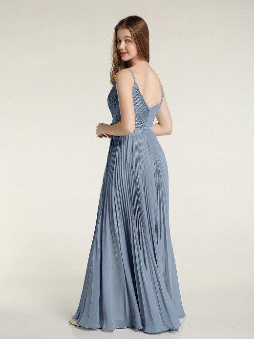 Babaroni Sera V-neck Full Pleated Skirt Dresses with Bow Sash