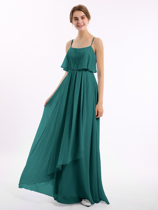 Babaroni Setlla Spaghetti Strap Chiffon Dress with Cascade Skirt