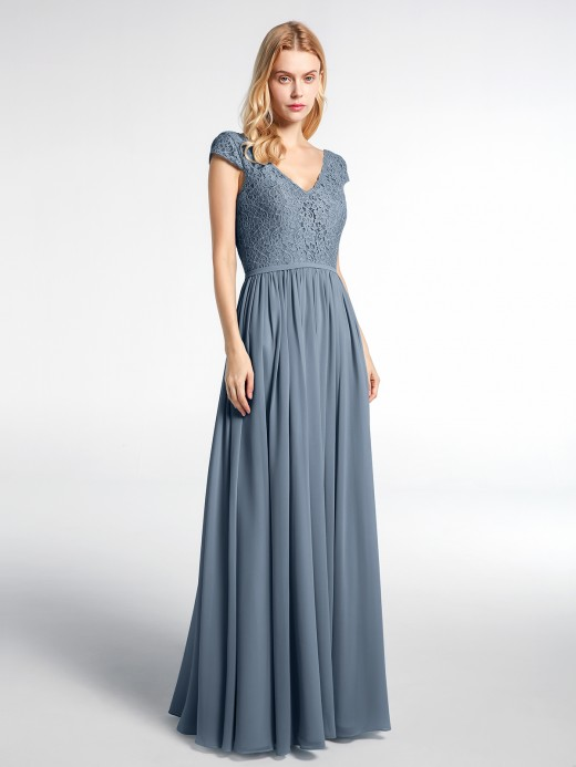 Sherry Lace and Chiffon Maxi Dress with Cap Sleeves US6