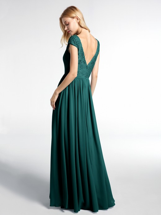 Sherry Lace and Chiffon Maxi Dress with Cap Sleeves US8