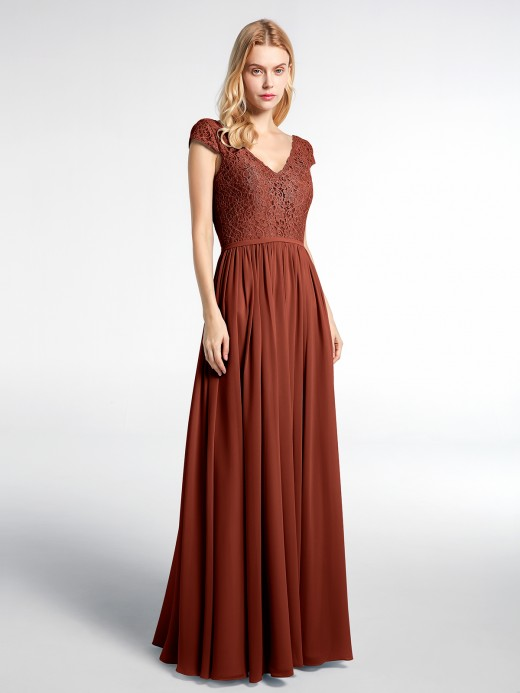 Sherry Lace and Chiffon Maxi Dress with Cap Sleeves US4