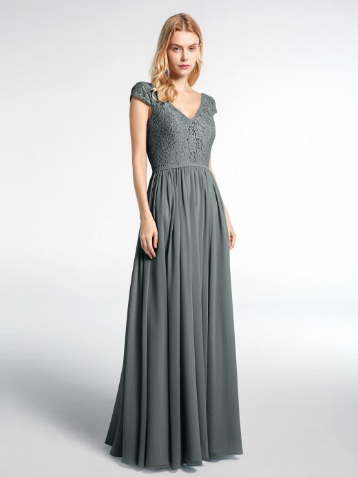 Babaroni Sherry Lace and Chiffon Maxi Dress with Cap Sleeves