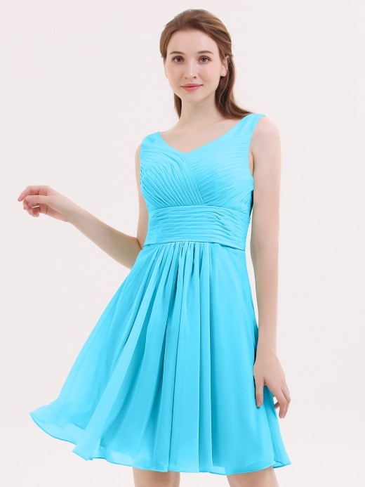 Babaroni Shirley V Neck Chiffon Short Bridesmaid Dresses