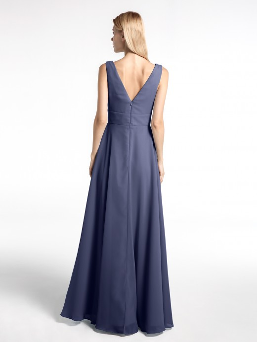 Babaroni Sibyl Notch Neck Chiffon Simple Full Length Dress
