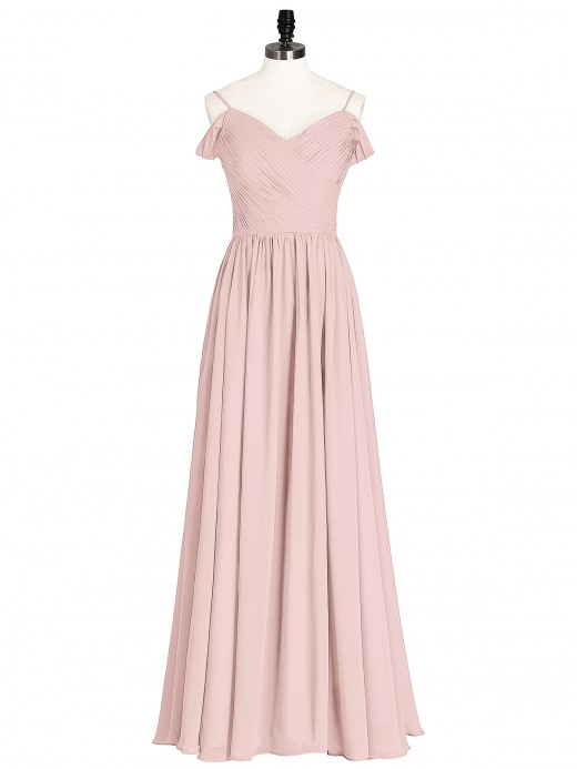 Babaroni Simona Chiffon Bridesmaid Dress with Pleated Bodice