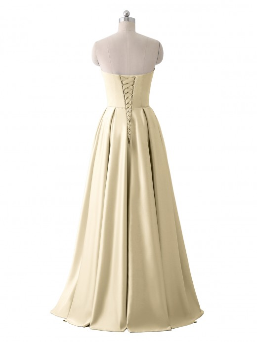 Babaroni Stacey Strapless Satin Dress with Beaded Pocket