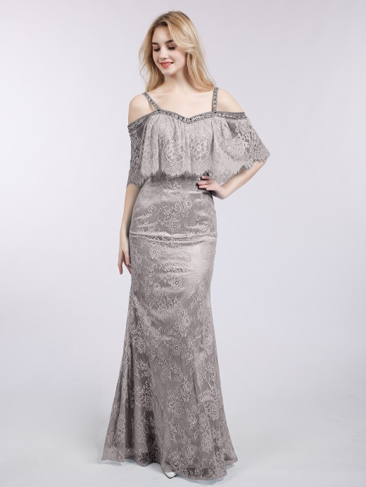 Babaroni Susie Spaghetti Strap Mermaid Lace Gown
