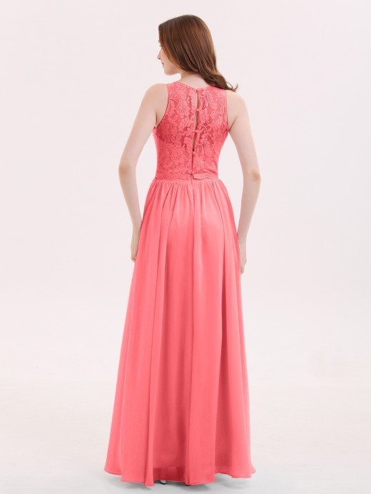 Babaroni Suzanne Long Lace Dress with Illusion Sweetheart Neck