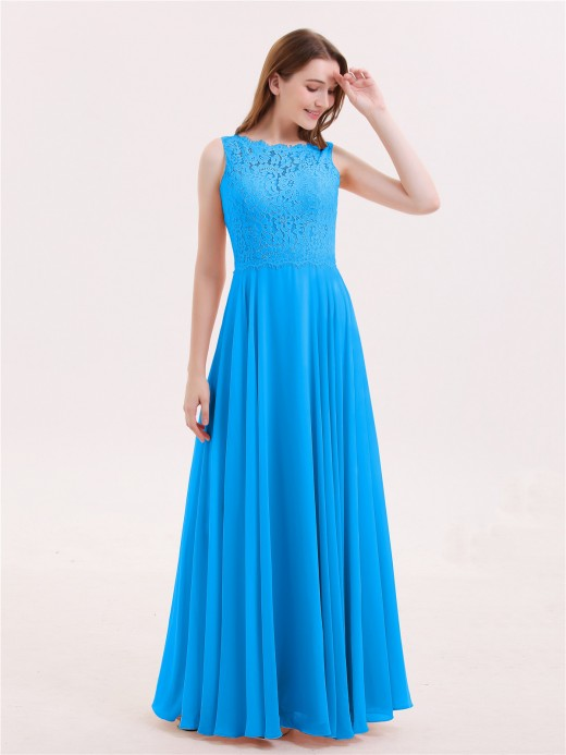Babaroni Tabitha Lace Bodice Chiffon Skirt Long Dress