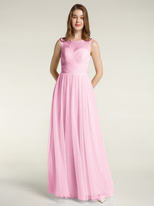 Babaroni Tess Illusion Neck Cross Tulle Bridesmaid Dresses