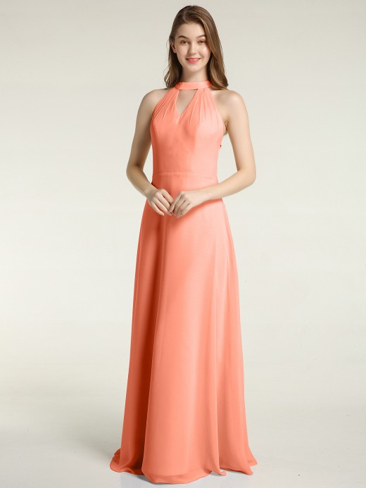 Babaroni Thera Halter Chiffon Long Bridesmaid Gowns with Low Back