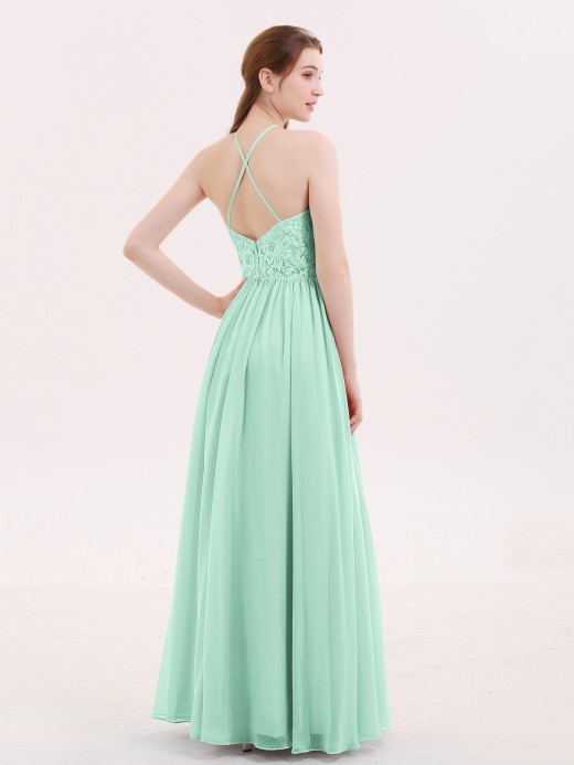 Babaroni Theresa Halter Long Gown with Lace Bodice