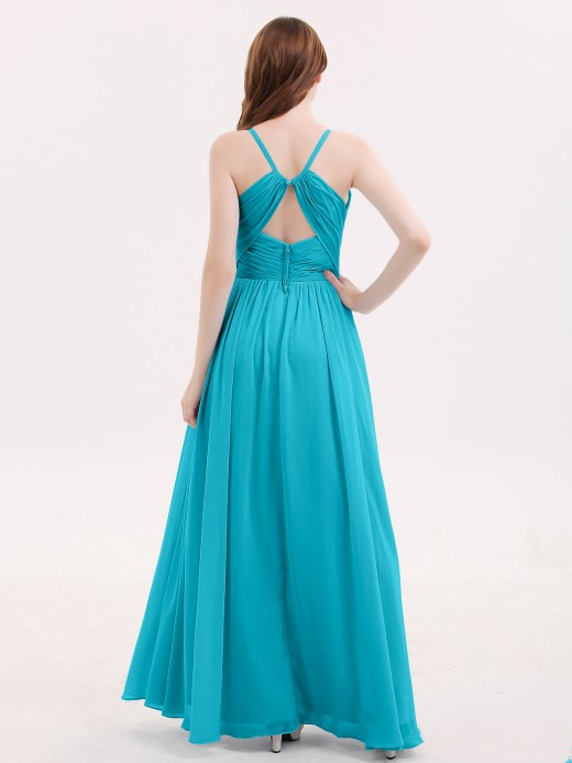 Babaroni Tiffany Open Back Chiffon Dress with V Neck