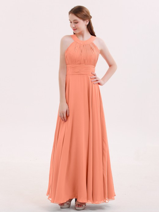 Babaroni Tobey Halter Neck Open Back Chiffon Bridesmaid Dress