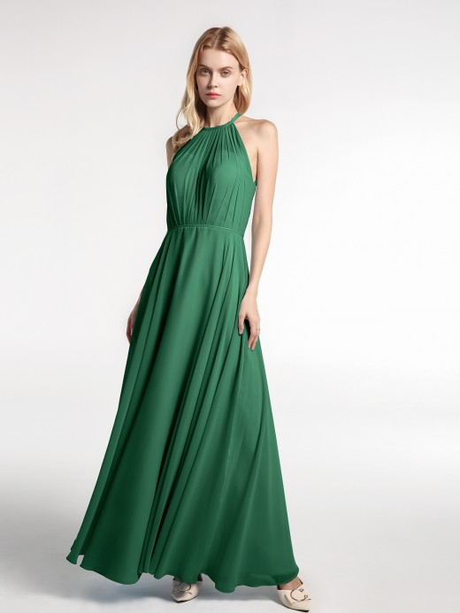 Babaroni Tove Halter Neck Chiffon Maxi Dress with Circle Skirt