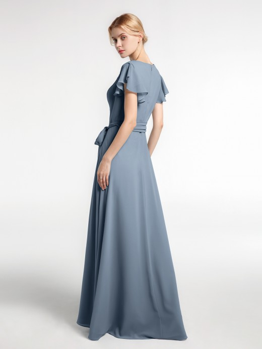 Babaroni Vanessa V-neck Cap Sleeves Chiffon Dress with Self-Bow