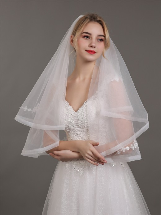 Babaroni Wedding Accessories  Veil02 Short Two Layers Wedding Veils with Appliqued
