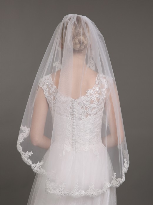 Babaroni Wedding Accessories Veil03 Tulle Wedding Dress Veil With Appliqued