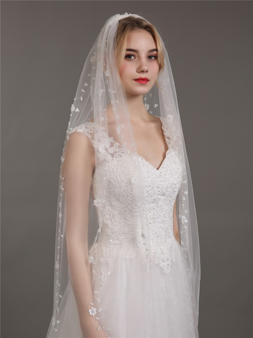 Babaroni Wedding Accessories Veil04 Tulle with Beaded Wedding Bridal Veils