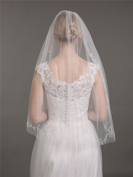 Babaroni Wedding Accessories Veil05 Tulle with Beaded Wedding Dress Veil