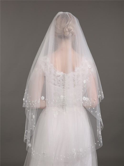 Babaroni Wedding Accessories  Veil06 Two Layers Tulle Bridal Veils with Beaded