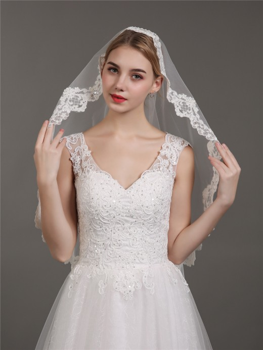 Babaroni Wedding Accessories Veil07 Tulle  Appliqued Wedding Dress Veil With Beaded