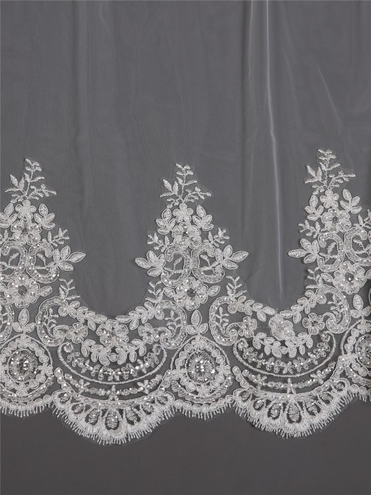 Babaroni Wedding Accessories  Veil08 Long Beaded  Appliqued Wedding Veil With Train