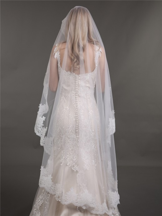 Babaroni Wedding Accessories  Veil09 Lace Appliqued Tulle Wedding Veil